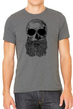 Skull Beard Graphic Mens T Shirt