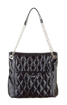 Grace Adele Handbag ~ Alex Purse in Black $80 ~ Patent quilted bag with convertible chain straps. www.EyeCandy.GraceAdele.us