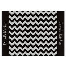 Designer Black Chevron Glass Cutting Board  ...............This design features a Designer Black Chevron pattern. The TEXT on both sides (left and right) can be customized with your own name. Check out my store for more colors