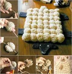 Sheep Pom Pom Rug Is A Super Cute DIY To Try