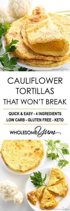 Low carb - Keto - Gluten free How To Make Cauliflower Tortillas - Recipe with 4 Ingredients - An easy cauliflower tortillas recipe with just 4 ingredients! These cauliflower wraps can bend without breaking. Perfect for low carb quesadillas! Healthy Low Carb Recipes, Low Carb Dinner Recipes, Gluten Free Recipes, Real Food Recipes, Keto Recipes, Vegetarian Recipes, Pescatarian Recipes, Vegetarian Lunch, Keto Dinner