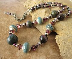 Boho Necklace Chunky Stone and Pearl Necklace by BohoStyleMe