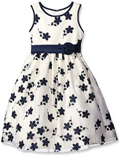3718c36e1e7 American Princess Little Girls Floral Embroidered Organza Dress Navy 6   gt  gt  gt