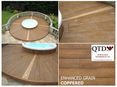 Residential installation of Millboard Decking, QTD used Coppered Oak Enhanced Grain Deckboards with Golden Oak Enhanced Grain boards to create a compass surrounding their hot tub.