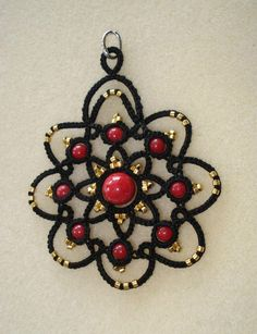 pendentif frivolité noir rouge or