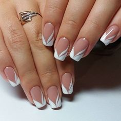french nails nude-square-lace-white-triangular-long-elegant-bridal-nails-ring - All About Hairstyles French Manicure Gel, French Nails, French Manicure Designs, Pedicure Designs, Nail Manicure, Nail Art Designs, French Manicures, Nails Design, Manicure Ideas