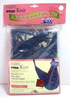 Fabri/Knit Cranston Fabric Kit Country Denim Hobo Bag Knitting Craft Kit New  #Cranston