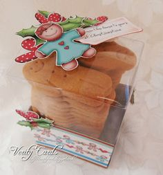 Gingerbread man gift box using Polka Doodles A Home for Christmas CD.