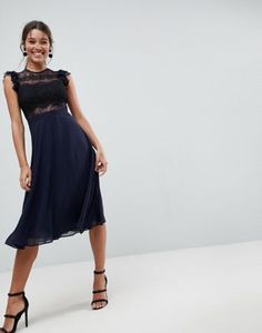 ASOS Lace Midi Dress with Lace Frill Sleeve