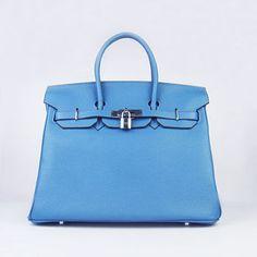 Hermes Birkin 35cm Togo leather Handbags blue silver