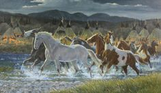 "Wild Horses : Original Ron Stewart Oil, ""Ponies for Warriors"" Signed Ron Stewart, Ron Stewart Western Art, Ron Stewart Art, #162"