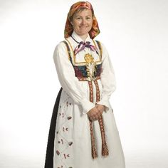 Folk Clothing, Fantasy Costumes, Bridal Crown, Folk Costume, Fashion Sewing, Traditional Dresses, Well Dressed, Norway, High Neck Dress