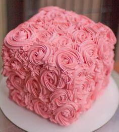 "8"" Square Rosette Cake"