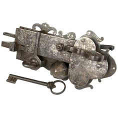 Large, 16th Century Etched Lock and Key | From a unique collection of antique and modern more antique and vintage finds at https://www.1stdibs.com/furniture/more-furniture-collectibles/more-antique-vintage-finds/
