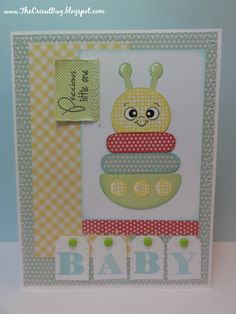 The Cricut Bug: BABY - could be done with punches Baby Boy Cards, New Baby Cards, Baby Shower Cards, Baby Scrapbook, Scrapbook Cards, Baby Shower Invitaciones, Cricut Cards, Creative Cards, Kids Cards