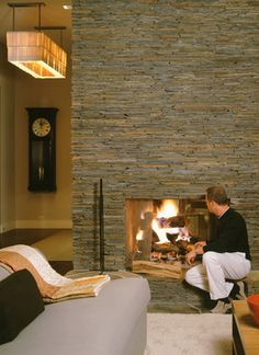 Modern Living Photos Slate Fireplace Design, Pictures, Remodel, Decor and Ideas