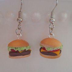 Cheeseburger Earrings - Mini Food Jewelry - Polymer Clay