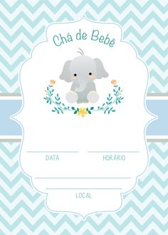 Kit Festa Chá de Bebê Menino - Casa & Ambiente Bebê Baby Elefante, Party Kit, Mother And Child, Baby Decor, Shower Party, Baby Boy Shower, Baby Shower Invitations, Decoration, Elephant
