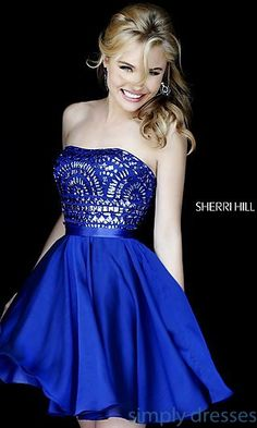 A Line Sherri Hill 1961 Short Royal Homecoming Dress 2015 Strapless Homecoming Dresses, Prom Dresses 2016, Beaded Prom Dress, Evening Dresses, Formal Dresses, Strapless Dress, Formal Prom, Chiffon Dress, Blue Dresses