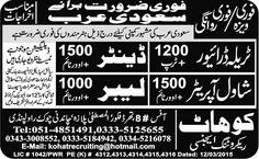 Shawl Operator Saudi Arabia Jobs.Trala Driver . Denter .Shawl Operator . Labor .All Newspaper Jobs Ads like Jang Newspaper Jobs Express Newspaper Jobs