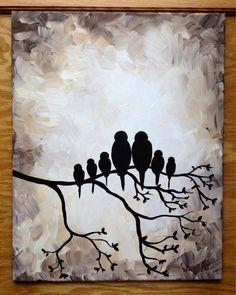 "Bird family silhouette black and white 16x20"" painting Facebook: NaptimeDesignsJD NaptimeDesignsJD@gmail.com"