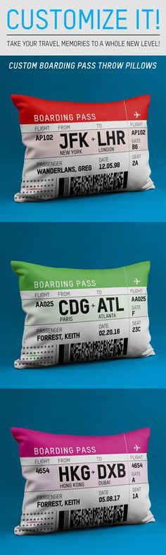 Custom boarding pass throw pillows! Take your travel memories to a whole new level!