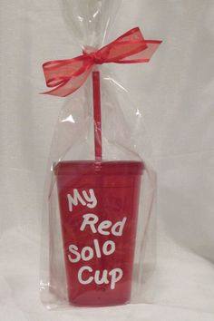 """The 16oz tumbler has white vinyl lettering front and back """"My Red Solo Cup"""" and """"Let's Have A Party""""."""
