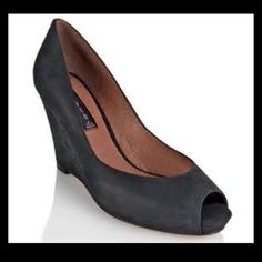 Steven by Steve Madden Black Suede Wedge These black suede open-toed wedges paired with black tights create a stylish look for the winter. Worn a few times, so in great condition! Steven by Steve Madden Shoes Heels