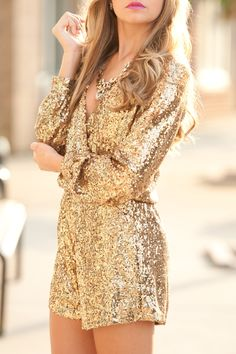 28 Gorgeous Bachelorette Outfits With A Wow Factor: Gold sequin romper with a low cut Bachelorette Outfits, Bachelorette Party Outfits, Fashion Mode, Gold Fashion, Womens Fashion, Fashion Trends, Latest Fashion, Luxury Fashion, Street Fashion