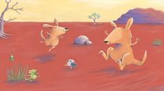Alison Brown Illustration - alison, brown, alison brown, paint, painted, acrylic, commercial, trade, picture book, picturebook, novelty, mass market, fiction, young reader, YA,cute, sweet, animals, kangaroo, play, playing, jump, jumping, frog, birds, trees, dessert, hot, warm, grass