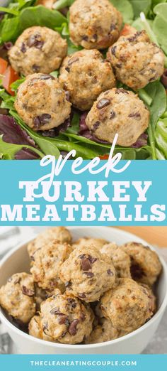 Greek Turkey Meatballs are a delicious healthy dinner. Put them on a salad, in a sandwich, or eat them on their own. Paleo, and keto friendly! Clean Eating Recipes, Lunch Recipes, Paleo Recipes, Healthy Dinner Recipes, Free Recipes, Paleo Menu, Banting Recipes, Protein Recipes, Healthy Appetizers