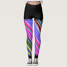 Colorful Stripes & Black Solid Regions Leggings