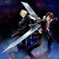 Cloud Strife and Squall Leonhart. Fan art. Kingdom Hearts. (Scene) Final Fantasy VII. Final Fantasy VIII.