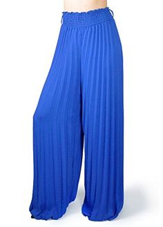 Women's Palazzo Boho Evening High Empire Waist Pleated Wide Leg Long Pants (Large, Royal Blue) *** Click on the image for additional details. http://www.amazon.com/gp/product/B015IMLFHG/?tag=clothing8888-20&pde=300916102820