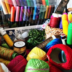 Full of colour, texture and delicious threads. #handembroidery #sewingbasket #threads #creativity Sewing Baskets, Fiber Art, Hand Embroidery, Creativity, Textiles, Photoshoot, Colour, Color, Photo Shoot