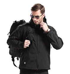 FREE SOLDIER Men Outdoor Tactical Softshell Jacket Waterproof Fleece Lined Warm Hunting Hoodie Jacket Black XXL -- Be sure to check out this awesome product.