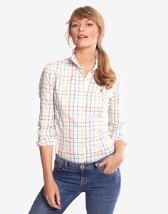 Joules OXFORD Womens Oxford Shirt, Multi Check. A wardrobe must-have fit for any occasion. In soft brushed cotton, this shirt will sit elegantly over both jeans and skirts.
