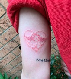 Baby angel in heart for Kiarra! Thanks for booking DM or email learttattoo Dope Tattoos, Girly Tattoos, Mini Tattoos, Red Ink Tattoos, Dainty Tattoos, Ribbon Tattoos, Baby Tattoos, Pretty Tattoos, Body Art Tattoos