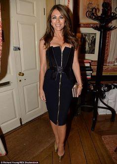 Elizabeth Hurley.. Amanda Wakeley Blue Strapless Corset Dress..... - Celebrity Fashion Trends