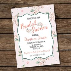 Floral Bridal Shower Invitation Printable  Floral by BashDesigns15