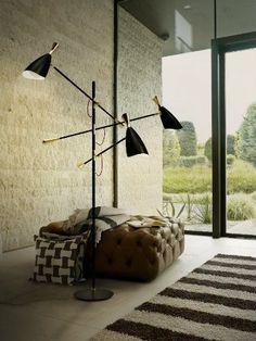INSPIRING CONTEMPORARY FLOOR LAMPS FOR A LIVING ROOM_See more inspiring articles at: www.delightfull.eu/en/inspirations/