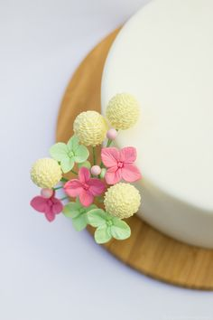Handcrafted Sugar Flower Bouquet of Yellow Pom Pom flowers, Rose Pink and Mint Hydrangea, & Light Pink and Mint Green Filler Buds #LucyJaneSweetDesigns, $55.00