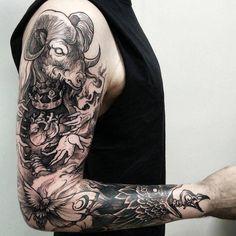 20 Artistic Blackwork Tattoos By Phil Tworavens Full Arm Tattoos, Arm Sleeve Tattoos, Tattoo Sleeve Designs, Arm Tattoos For Guys, Tattoo Designs Men, Bull Tattoos, Badass Tattoos, Black Tattoos, Badass Tattoo For Men