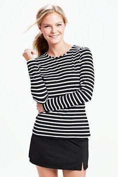 Women's Swim Tee Rash Guard - Classic Stripe from Lands' End Running Skirts, Swim Skirt, Rash Guard, Swimsuit Tops, Women Swimsuits, Modest Swimsuits, Clothes For Women, My Style, Tees