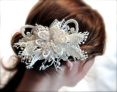 Ivory Lace Bridal Hairpiece OOAK by Marcellefinery on Etsy, $46.00