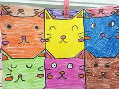 MC Escher math tessellation drawing for pattern and shape class. The children cut, traced and designed their own cats. It was a simple and fun activity!