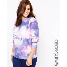 ASOS CURVE Exclusive Sweatshirt With Disney Mickey Moon Print ($25) ❤ liked on Polyvore