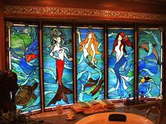 mermaid bathroom ~| Mermaids by Glass Fusion Studios of Vermont at CustomMade.com