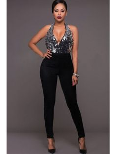 56cb7ee1096 Black Sequin Sleeveless Halter Backless Sexy Jumpsuit