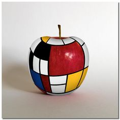 piet mondrian - on an apple Piet Mondrian, Mondrian Kunst, Tableaux Vivants, Apple Art, Art Abstrait, Custom Mugs, Famous Artists, Bauhaus, Art Lessons